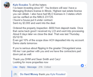 Great Facebook Comment From Illinois Borrower Do Hard Money Reviews